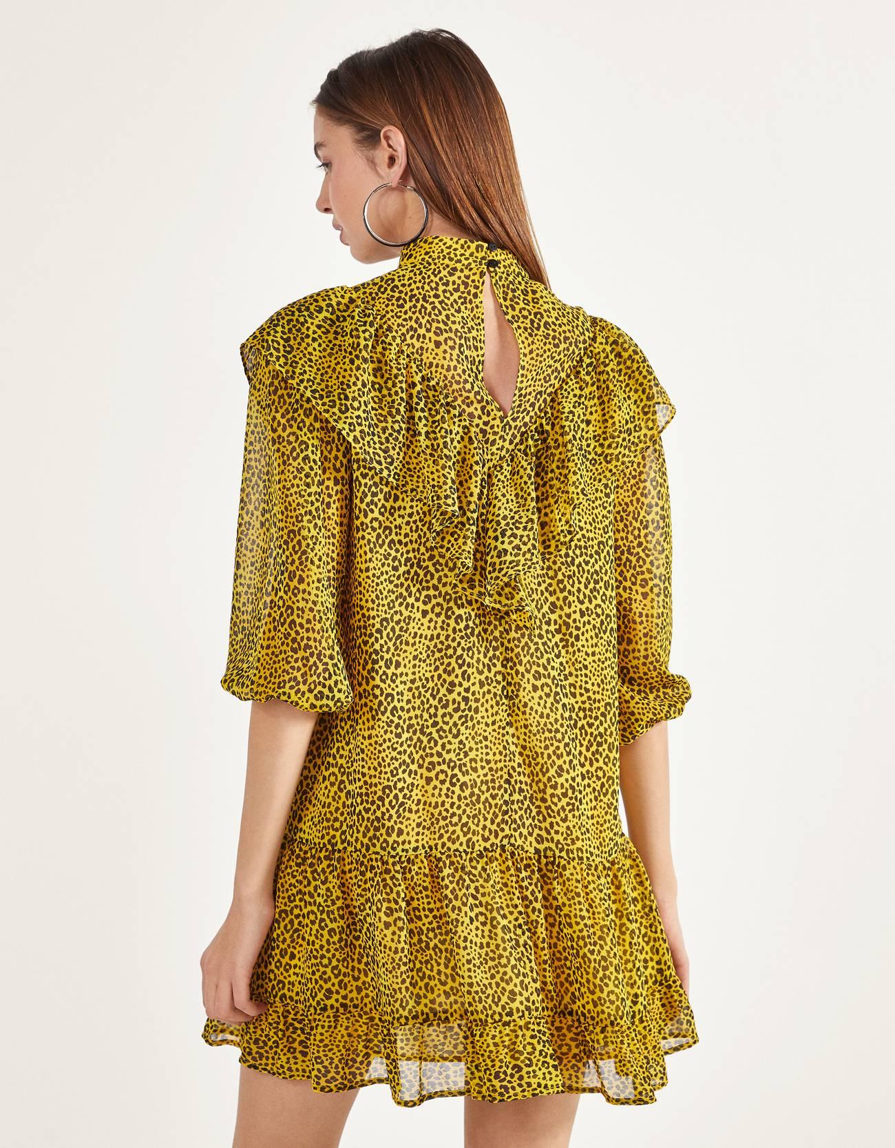 Платье из крепа с воланом и оборками Желтый Bershka