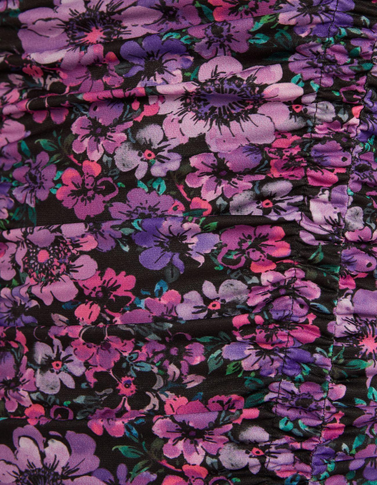 Короткое платье с цветочным принтом и сборкой Розовый Bershka