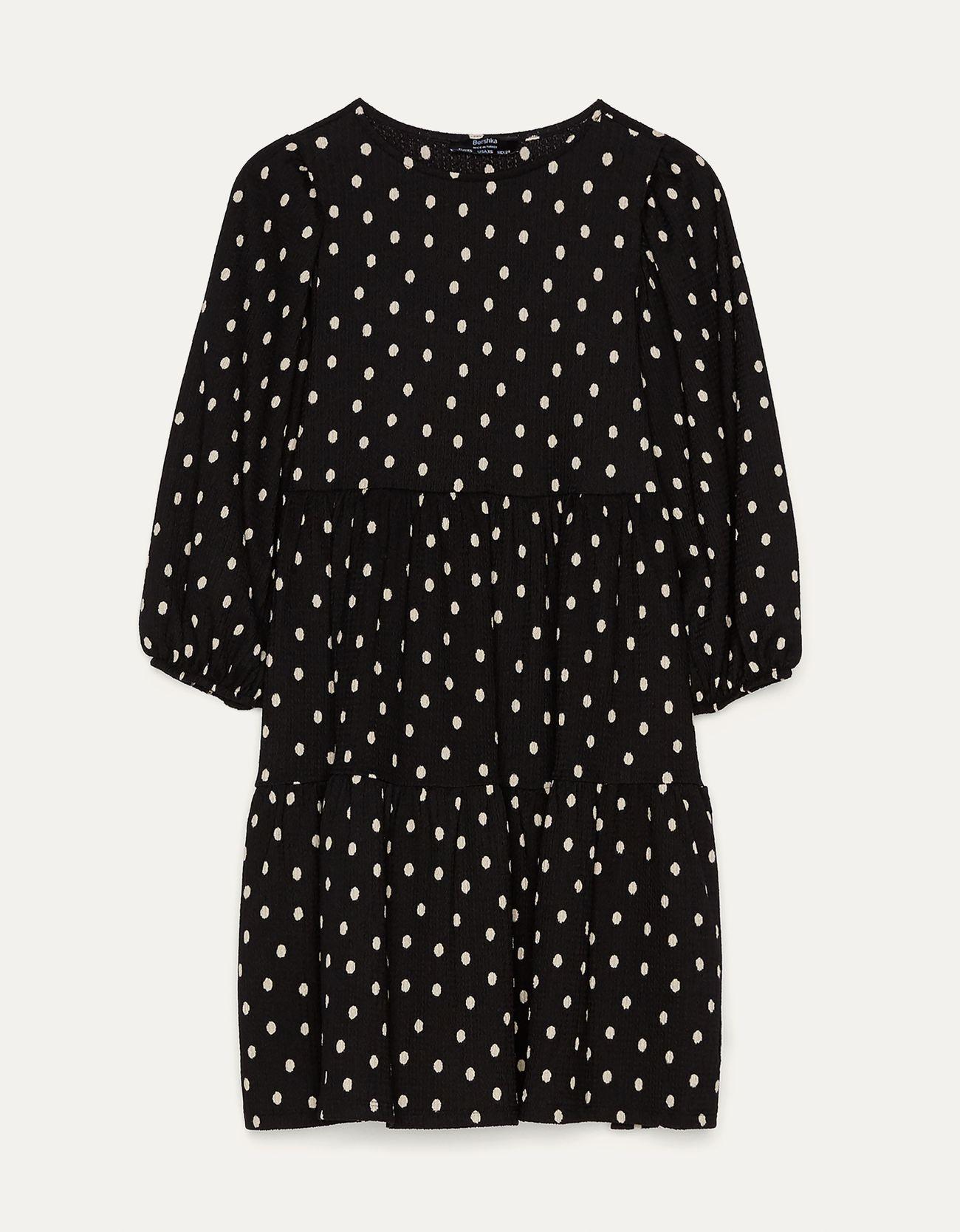 Короткое платье с принтом Белый/Черный Bershka
