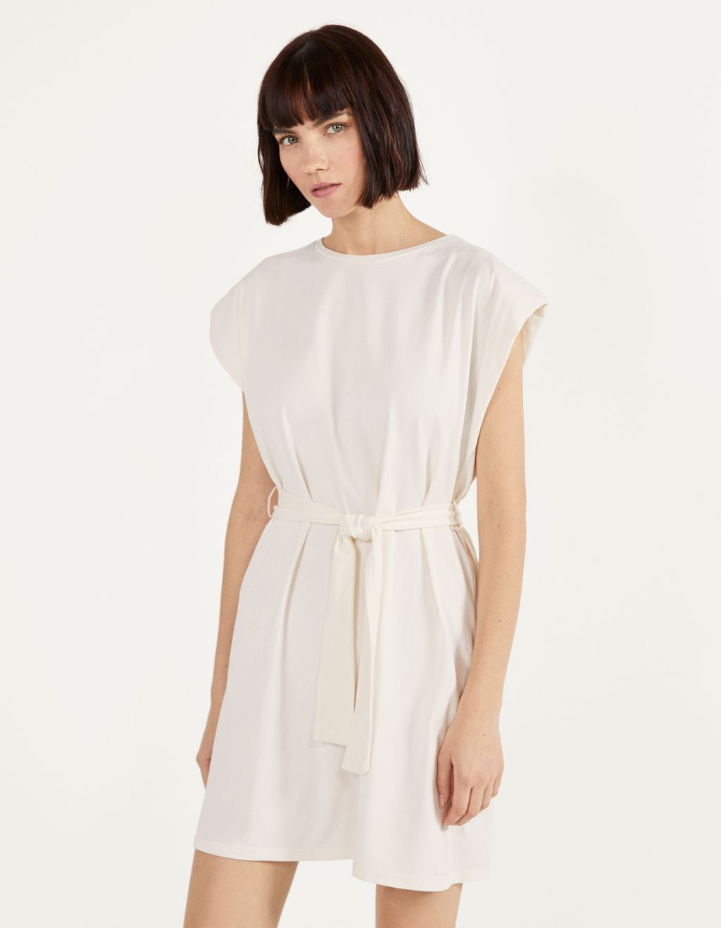 Plush dress with shoulder pads