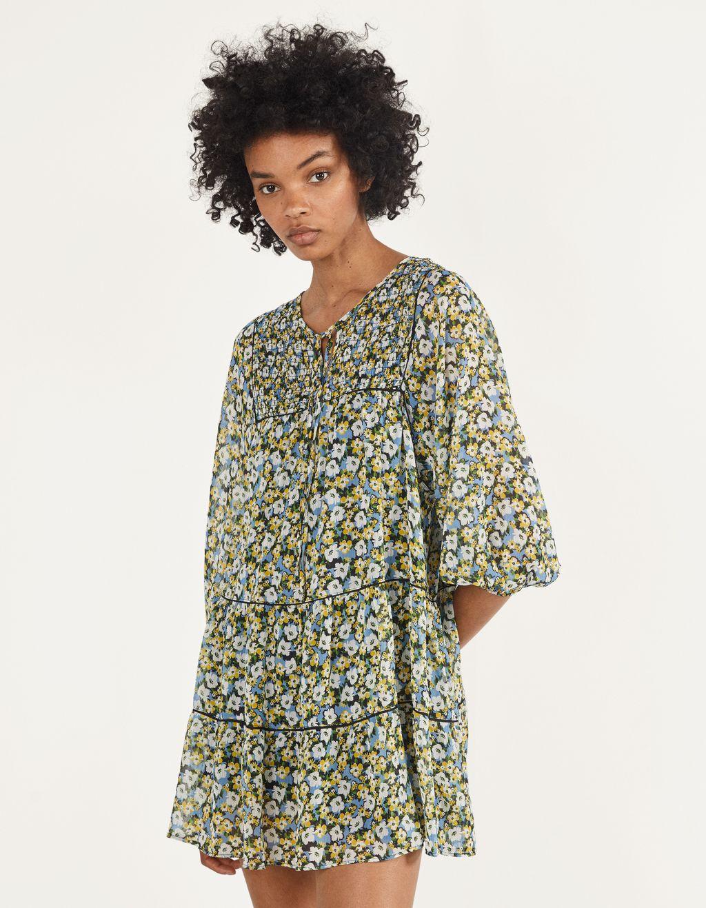 Robe babydoll à fleurs