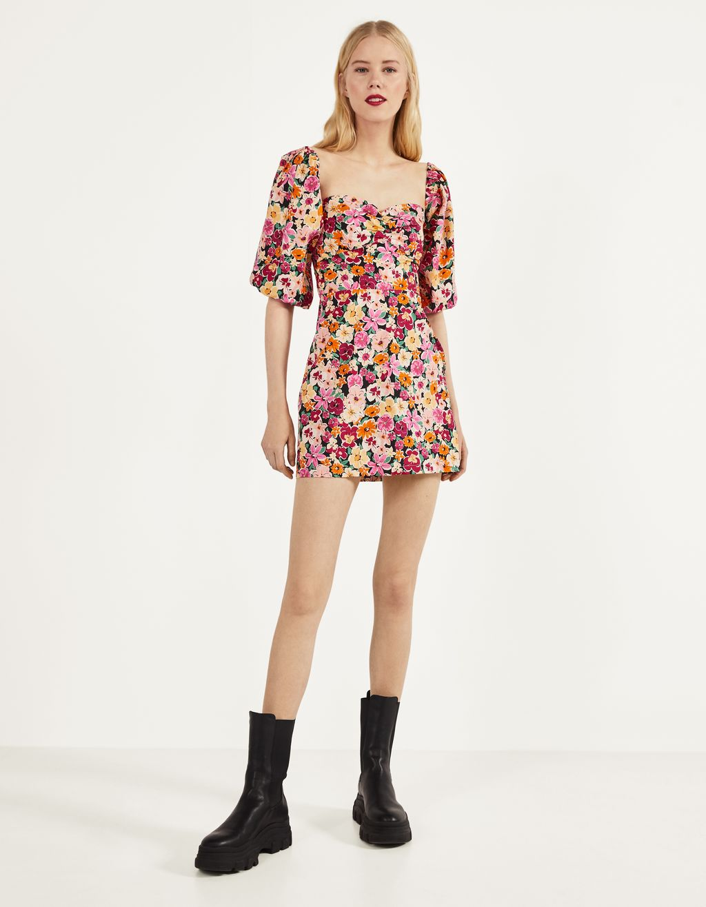 Floral dress with a Bardot neckline