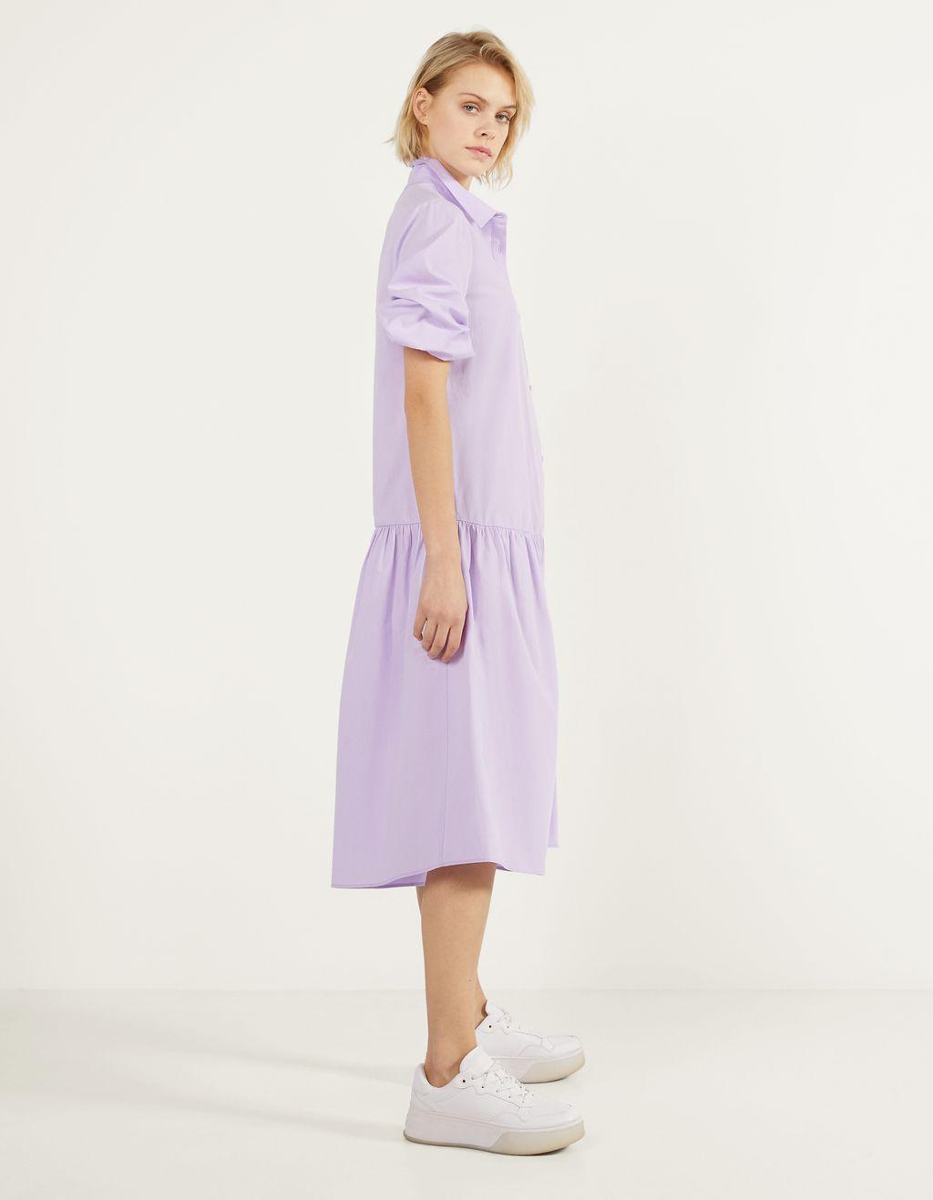 Langes Kleid aus Popelin