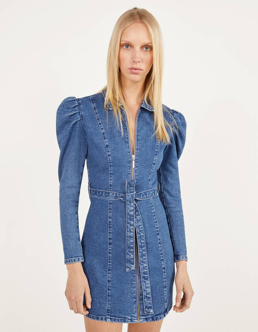 Zip-up denim dress
