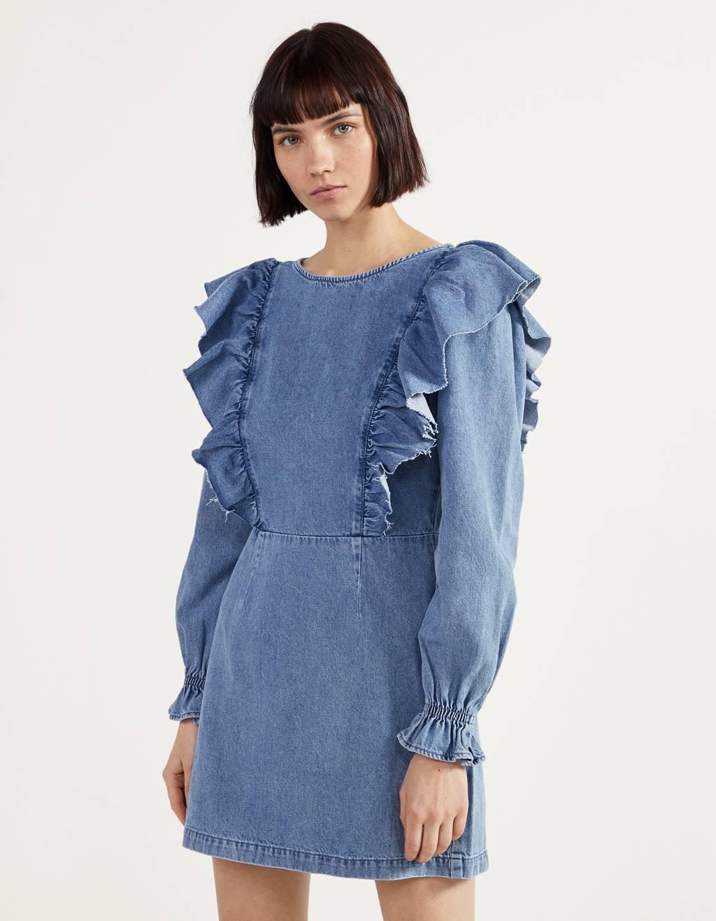 Damen Ärmellos Mini Denim Kleid Bleistiftkleid Knopf Jeans V-Ausschnitt Bodycorn
