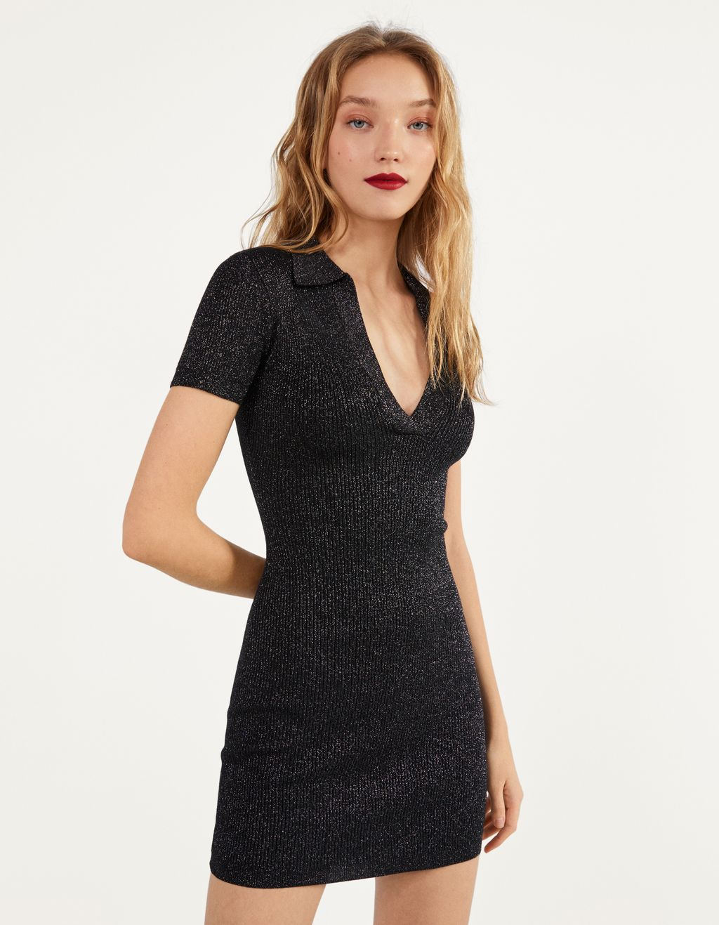 Knit dress with metallic thread