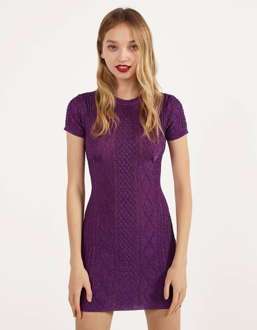 Knit dress with metallic thread