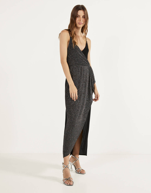 Dress with contrasting metallic thread