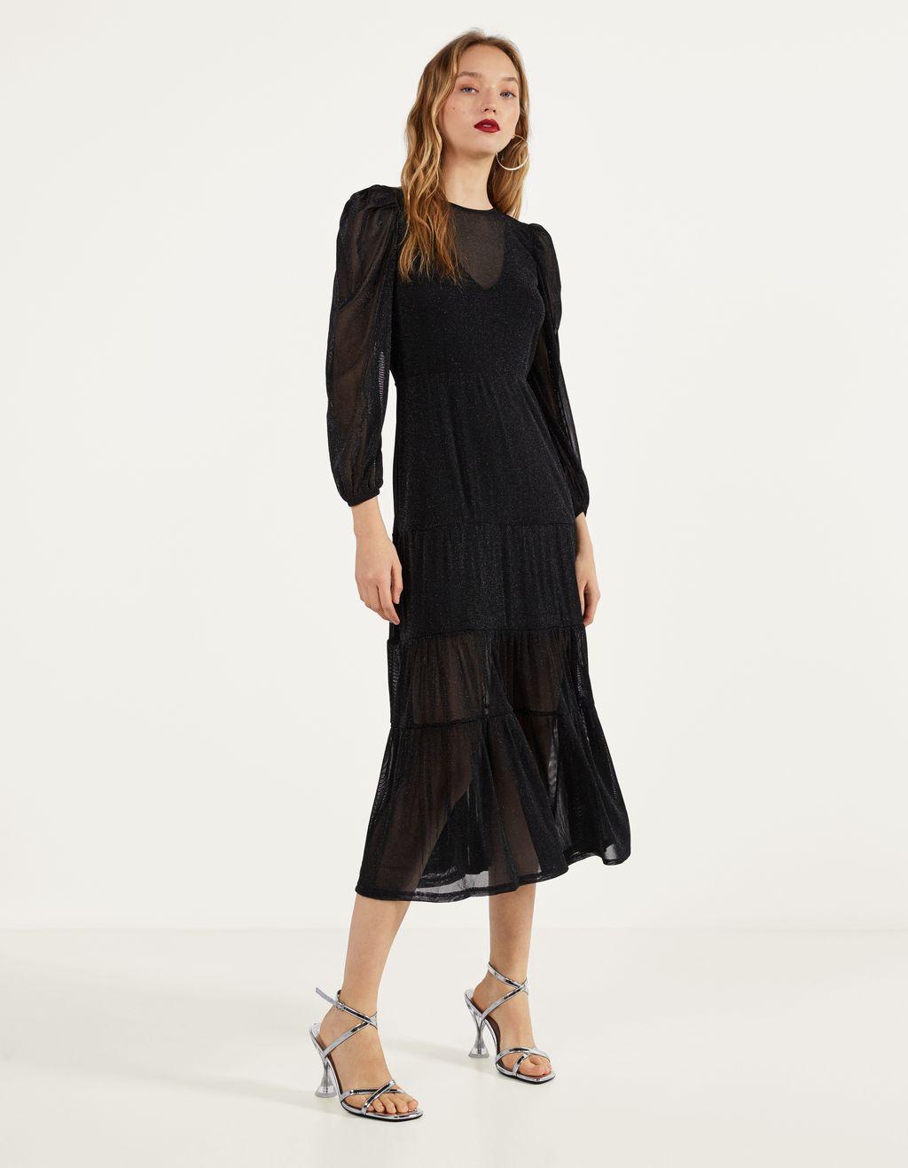 Платье с контрастной блестящей нитью