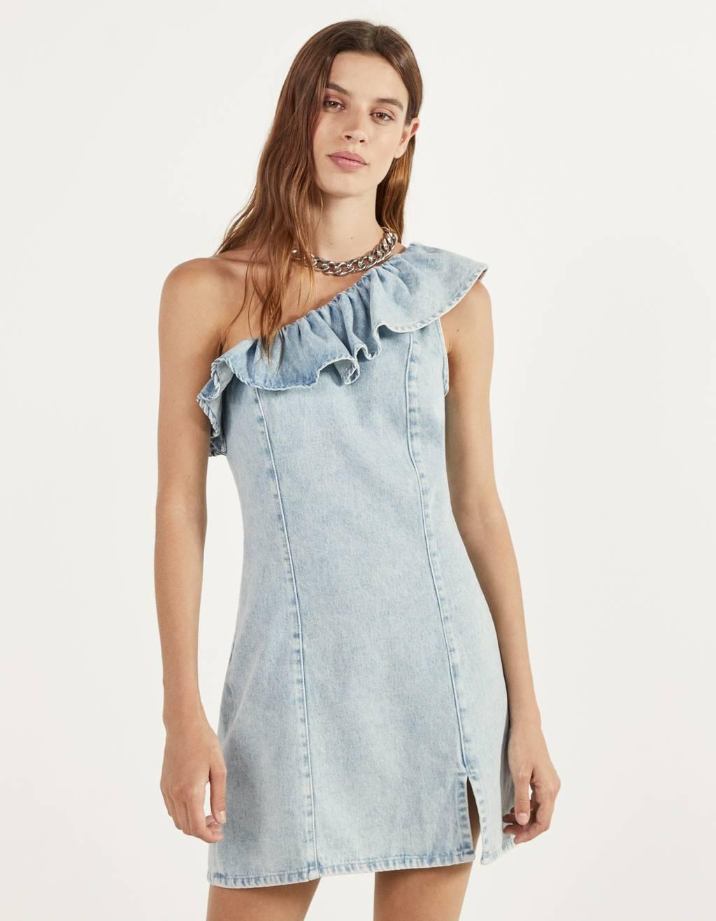 Asymmetric dress with ruffle trims