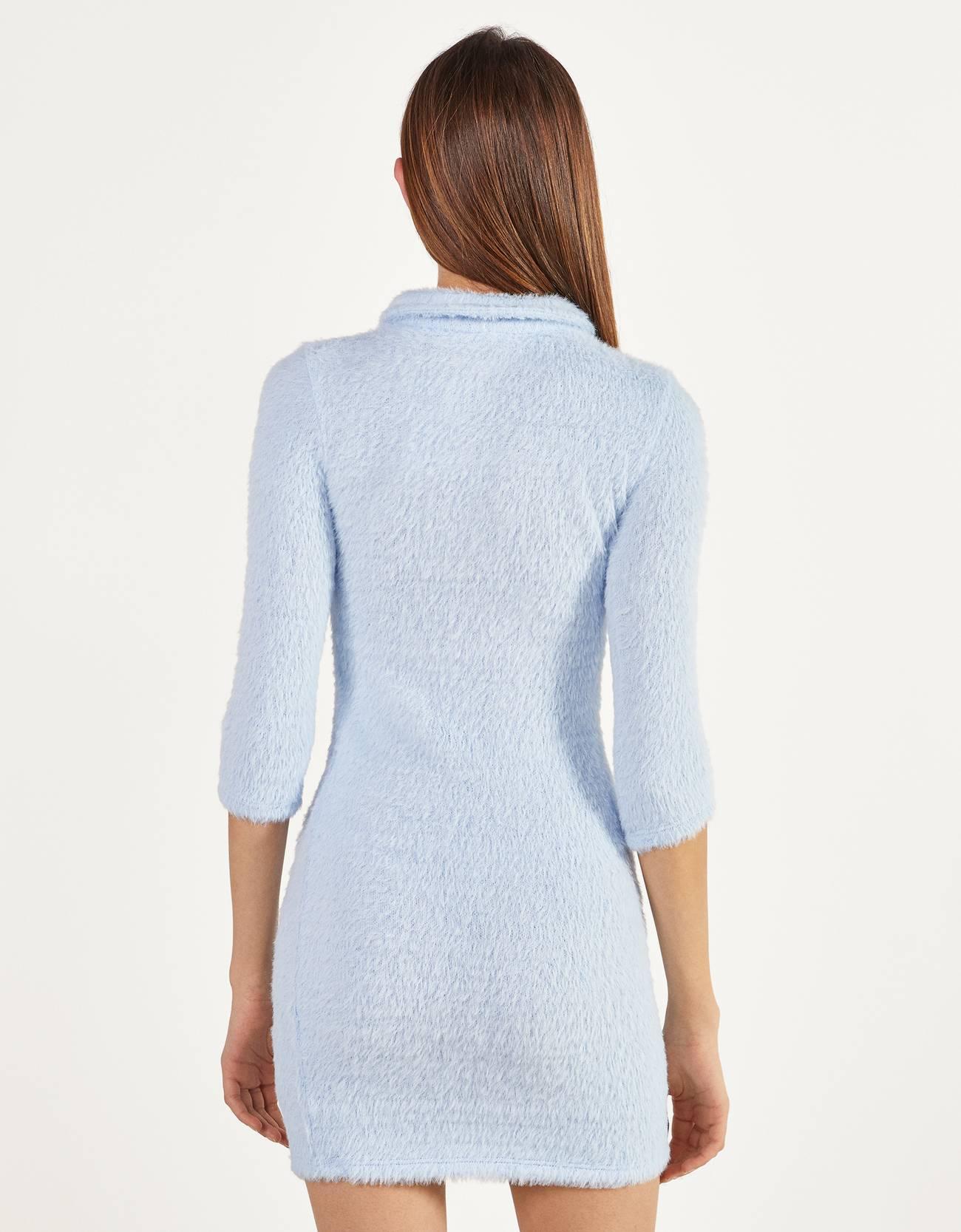 Короткое платье из искусственного меха Синий Bershka