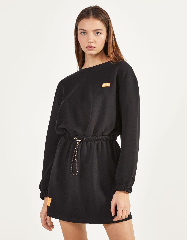 Vestido de felpa con frunce en cintura