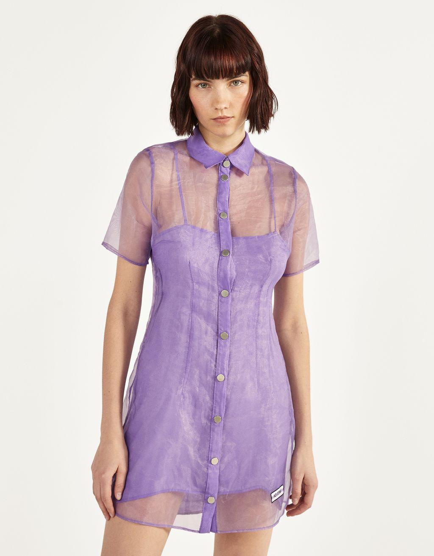 Organza shirt dress