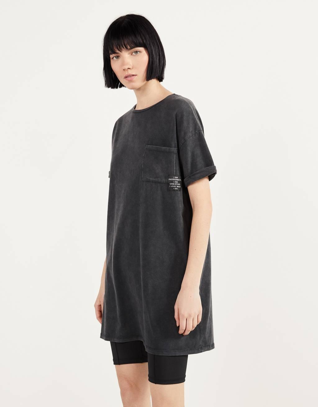 Short acid wash dress