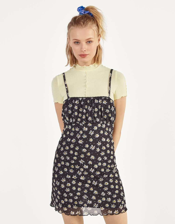 Vestido de tule con estampado