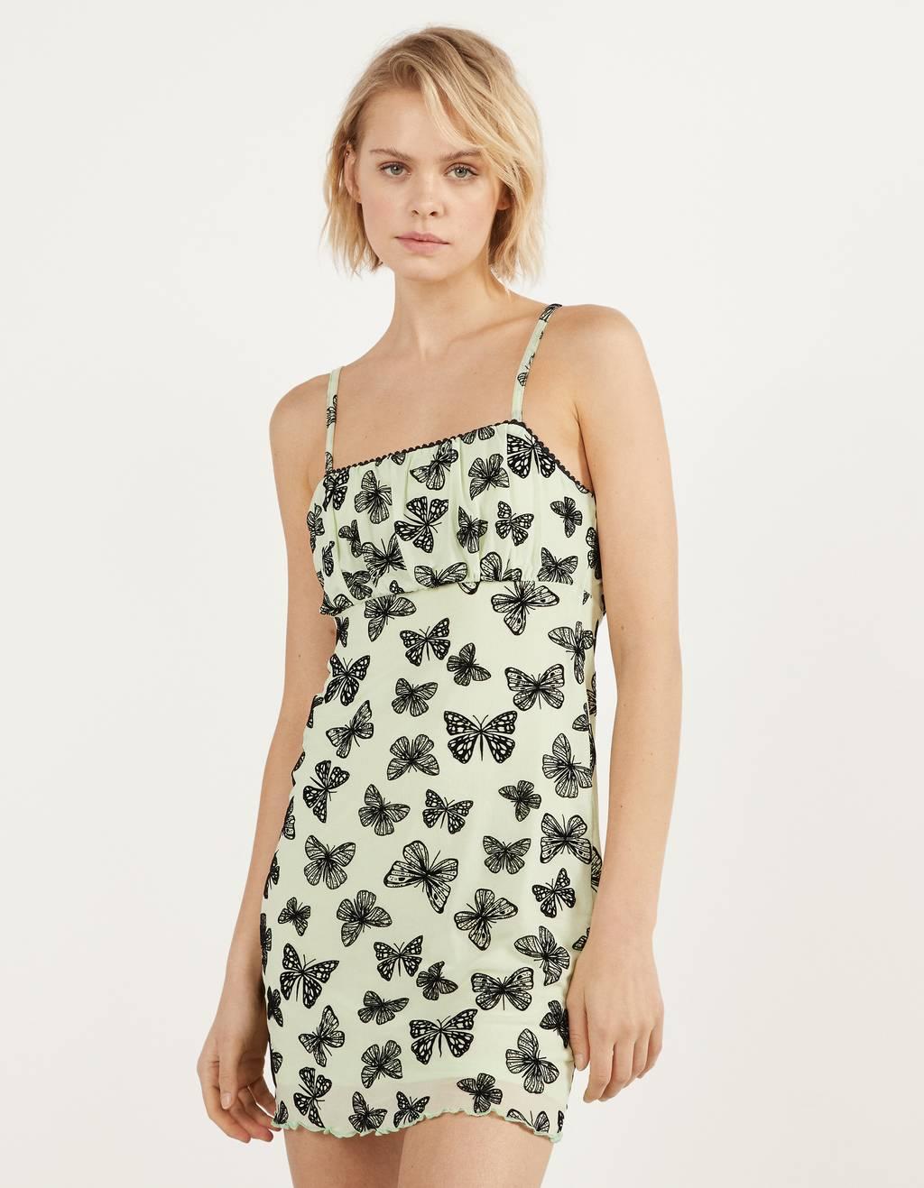 Платье из полупрозрачной ткани с принтом