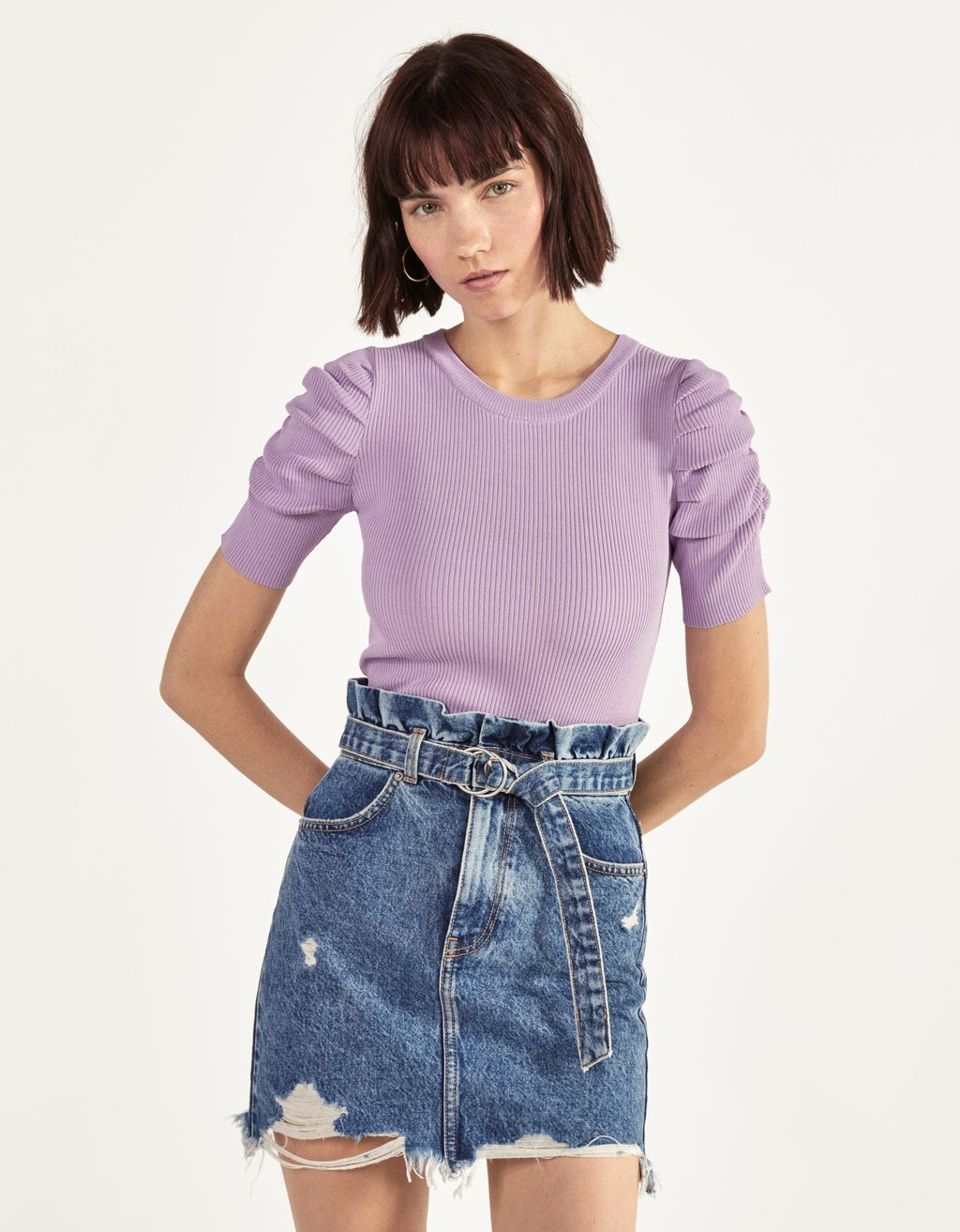 Denim skirt with belt