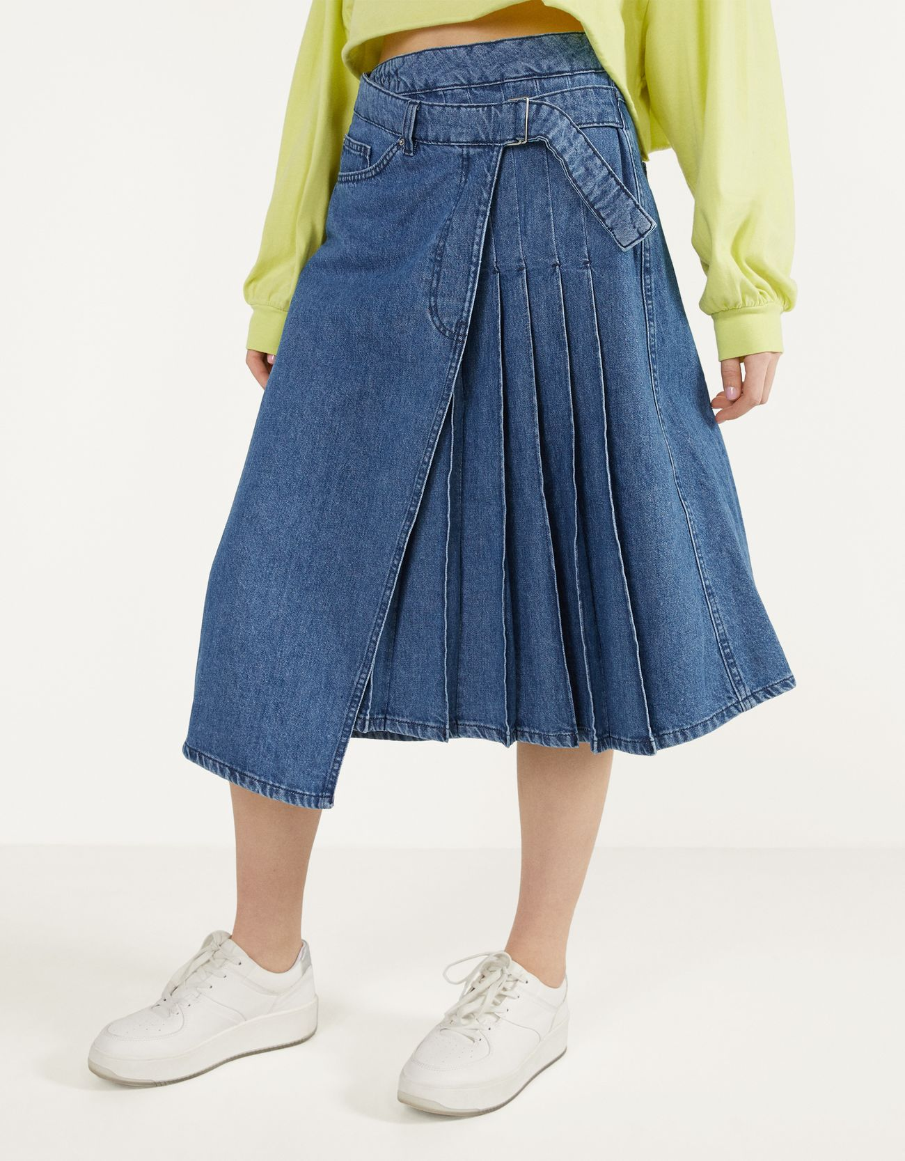 Asymmetric pleated denim skirt