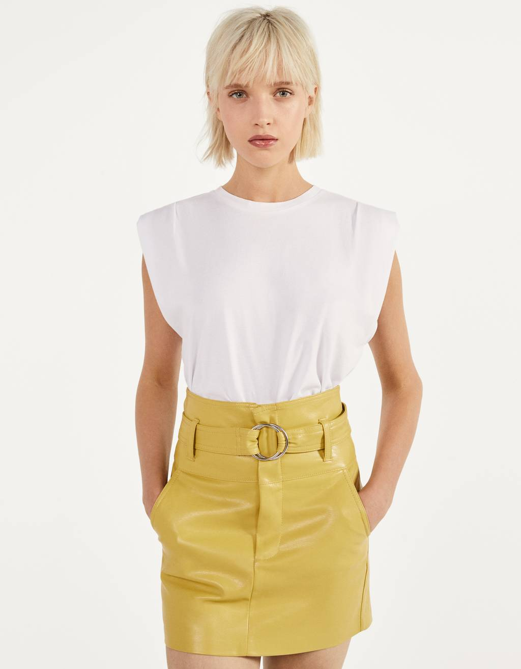 Leather-like skirt with belt