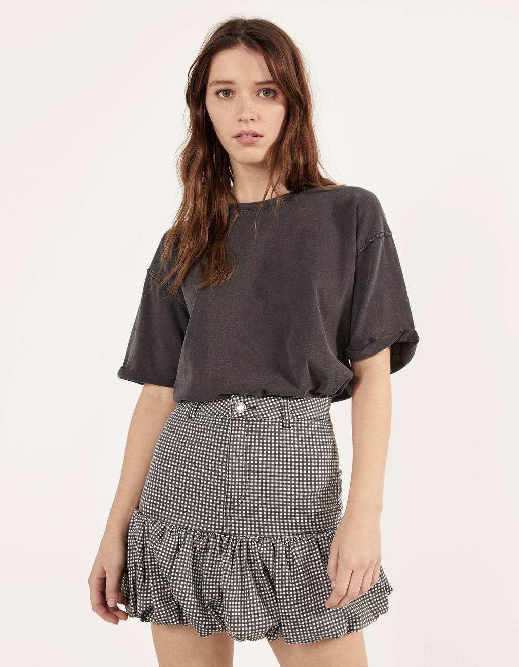 Bubble hem skirt with belt