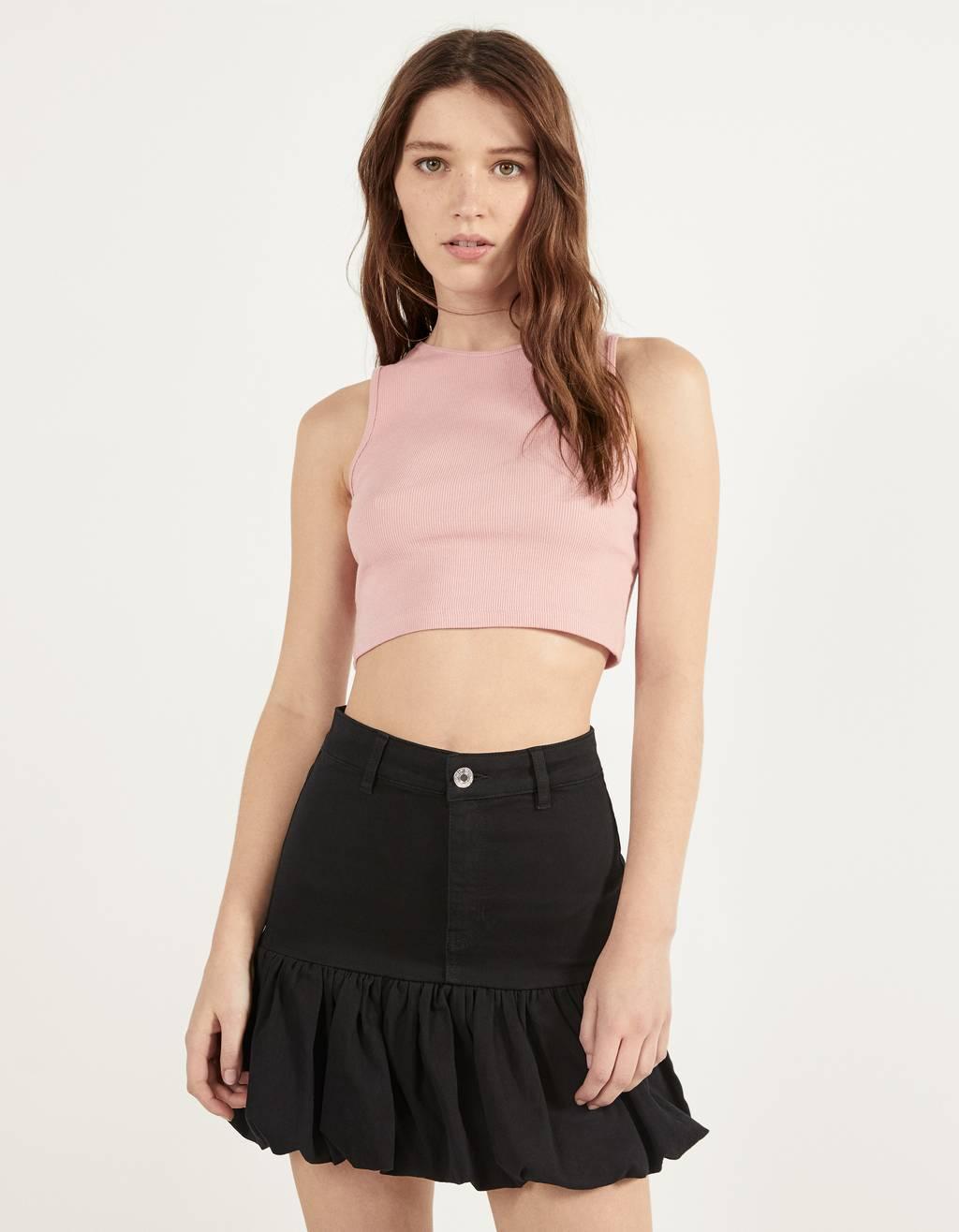 Bubble hem skirt with belt