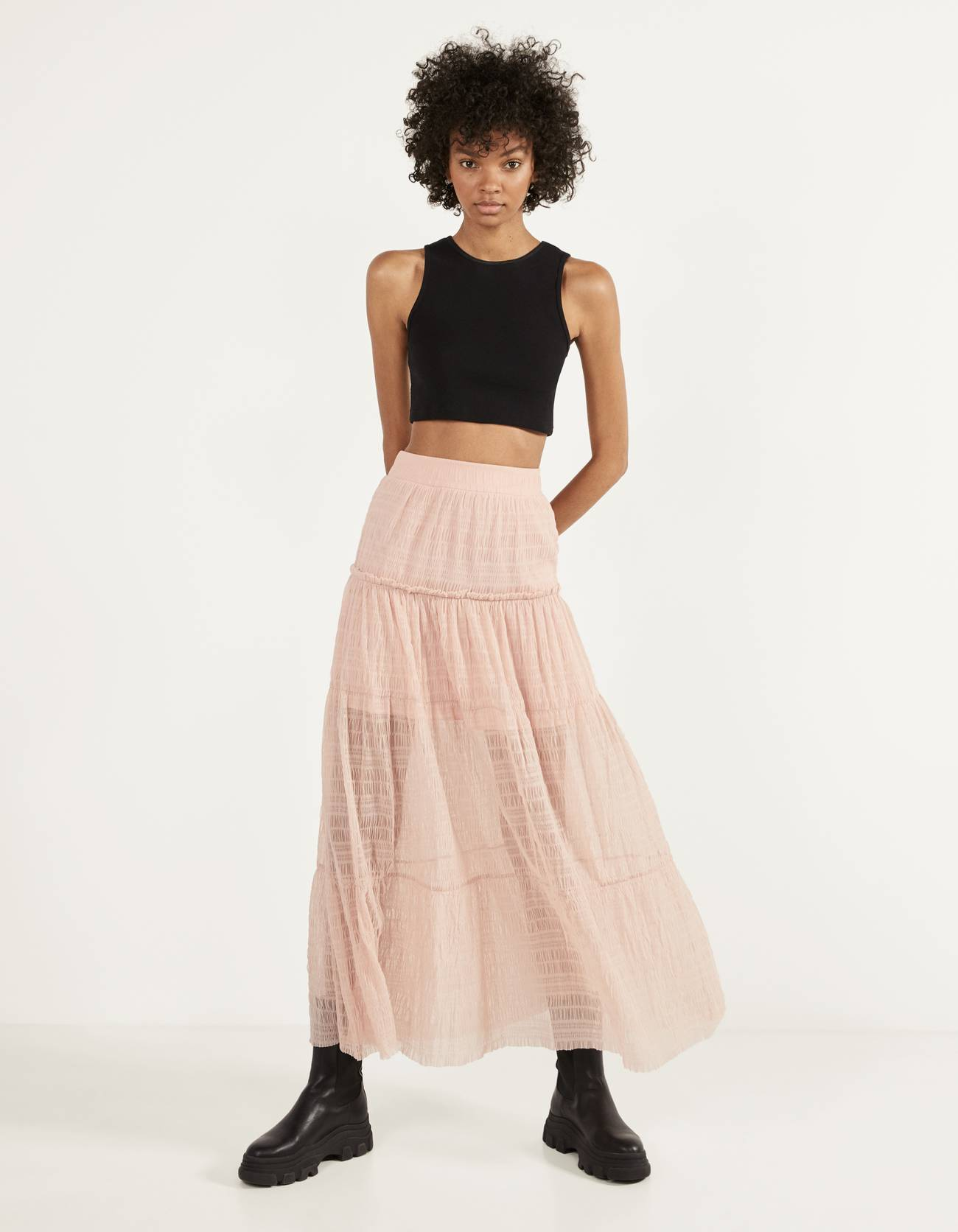 Tulle maxi skirt with shirred elastic