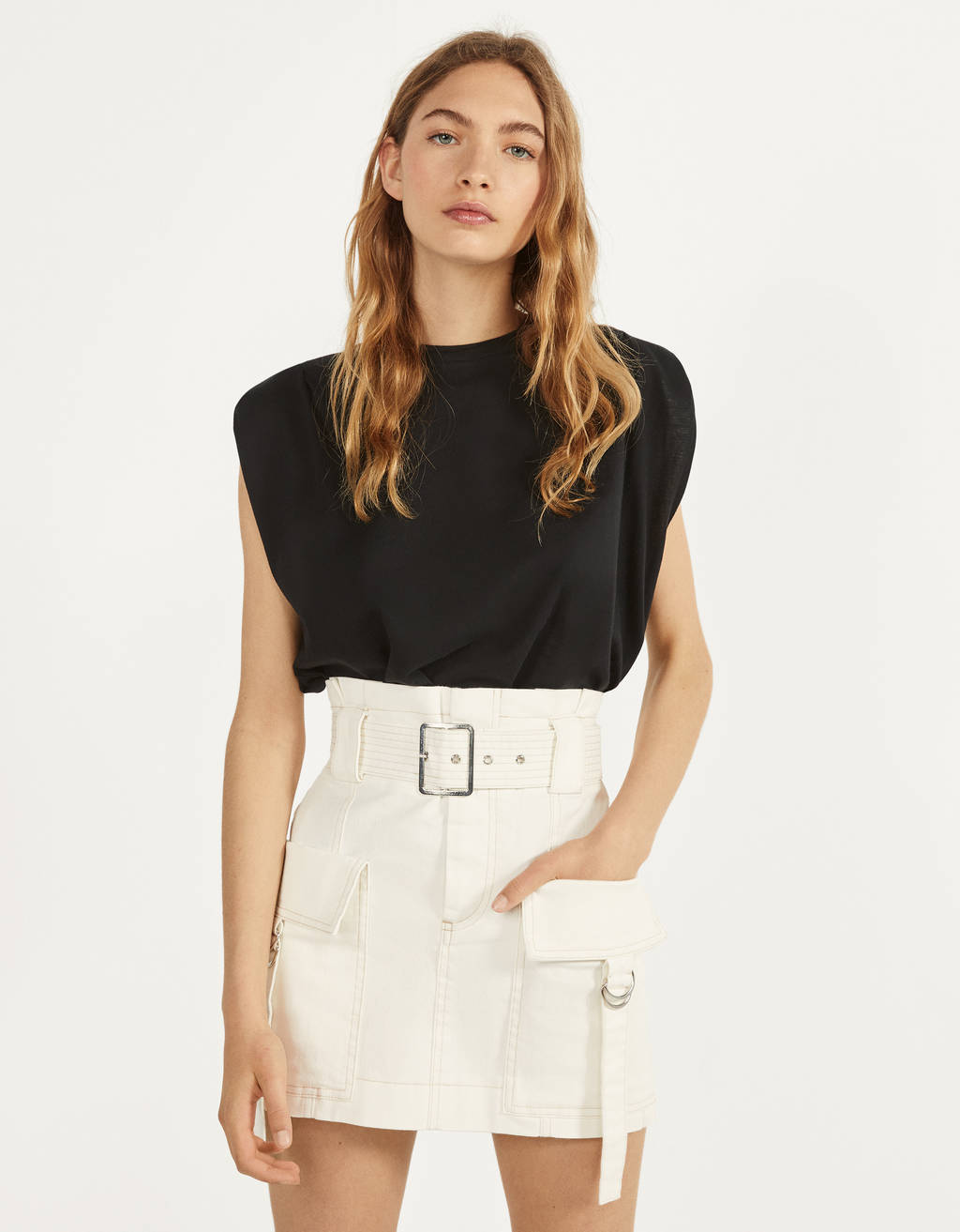 Cargo skirt with belt