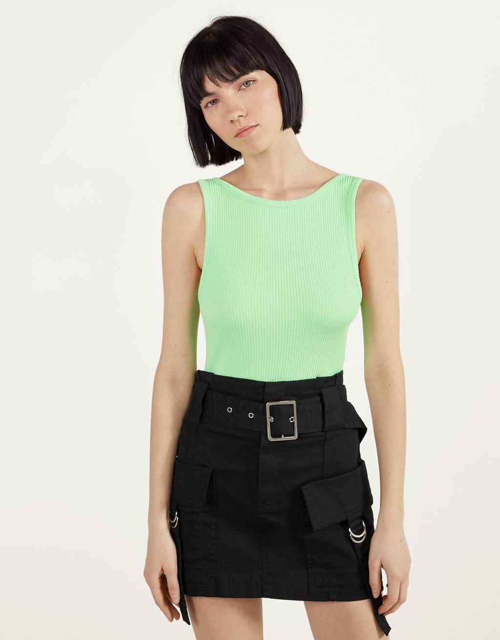 Cargo skirt with belt