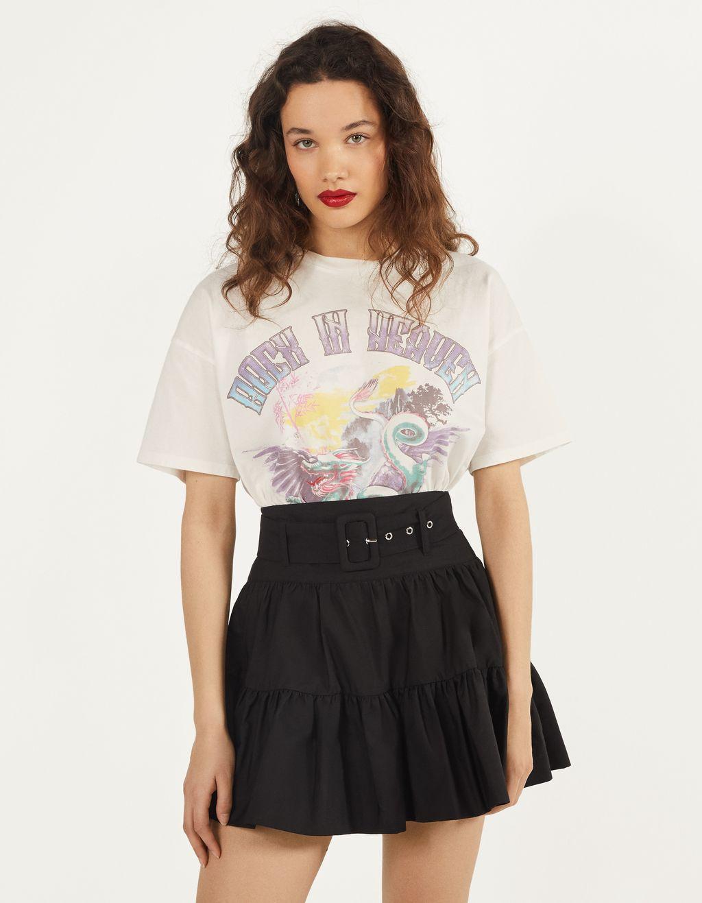 Falda de popelín con cinturón