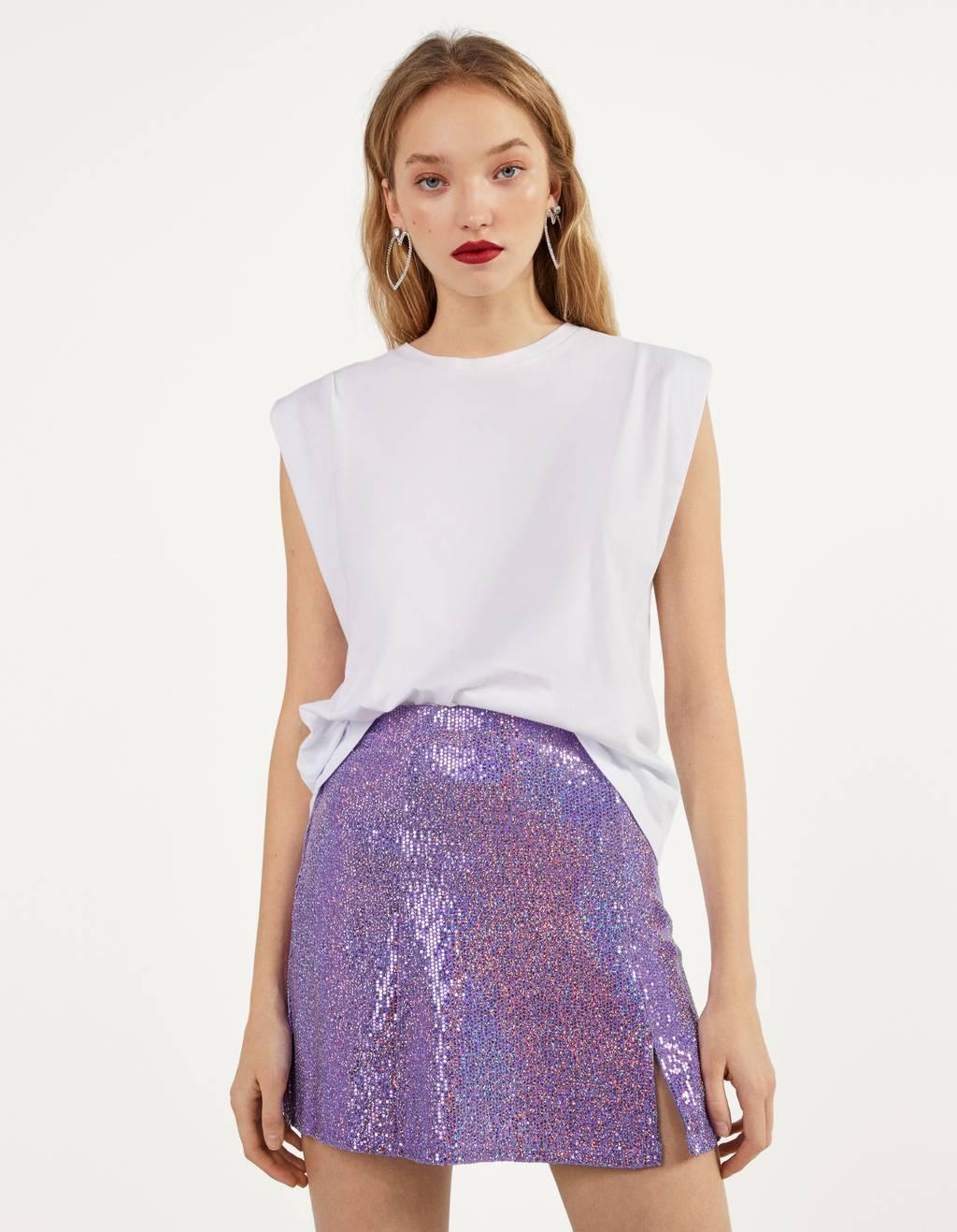 Mirrored mini skirt
