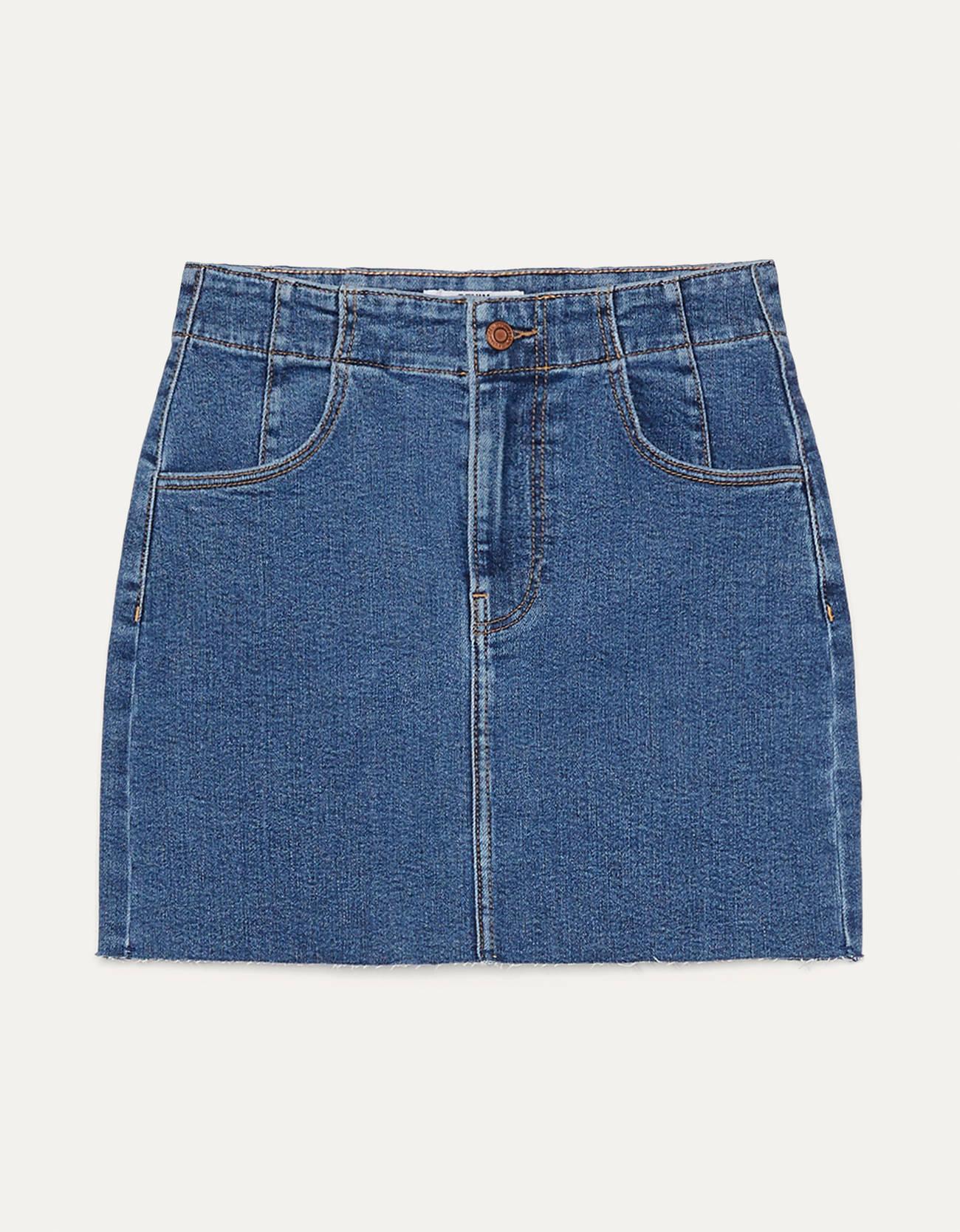 Короткая джинсовая юбка СИНИЙ Bershka