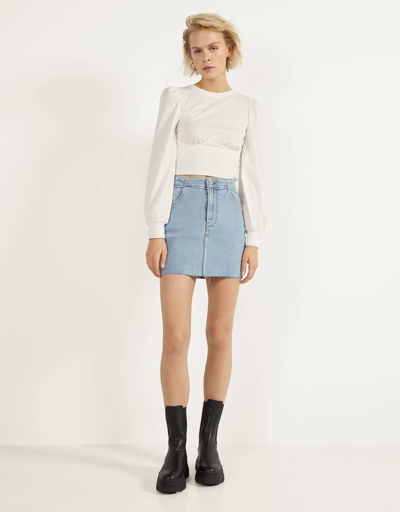 Короткая джинсовая юбка Синий застиранный Bershka