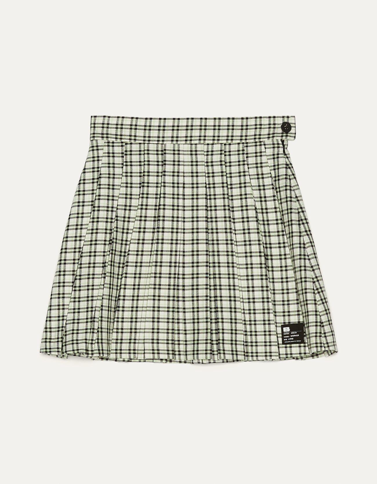 Мини-юбка с плиссировкой Зеленый Bershka