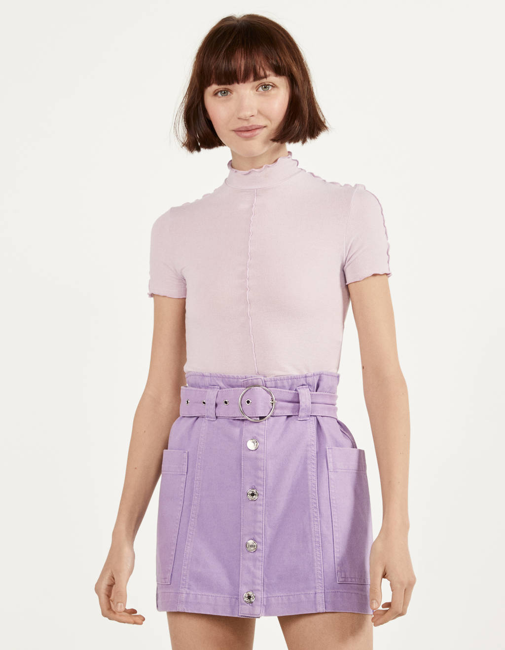 Cargo skirt with belt and buttons