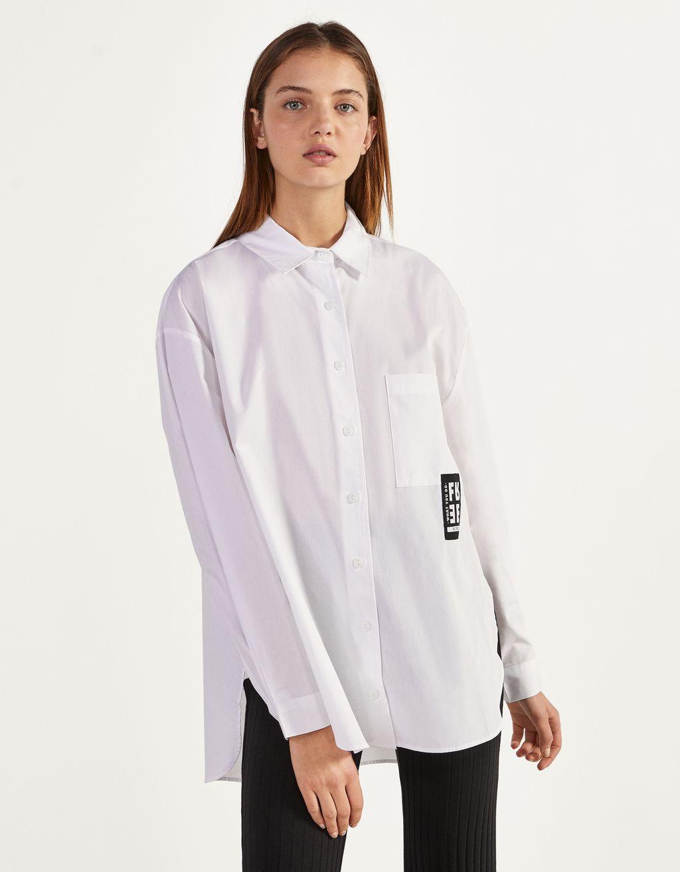 Poplin shirt with slits