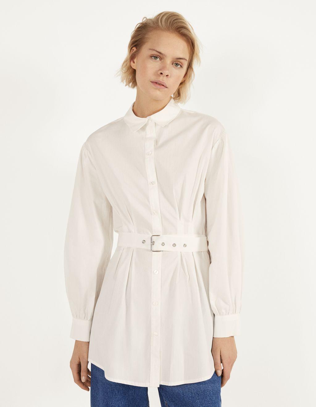 Camisa de popelina con cinto