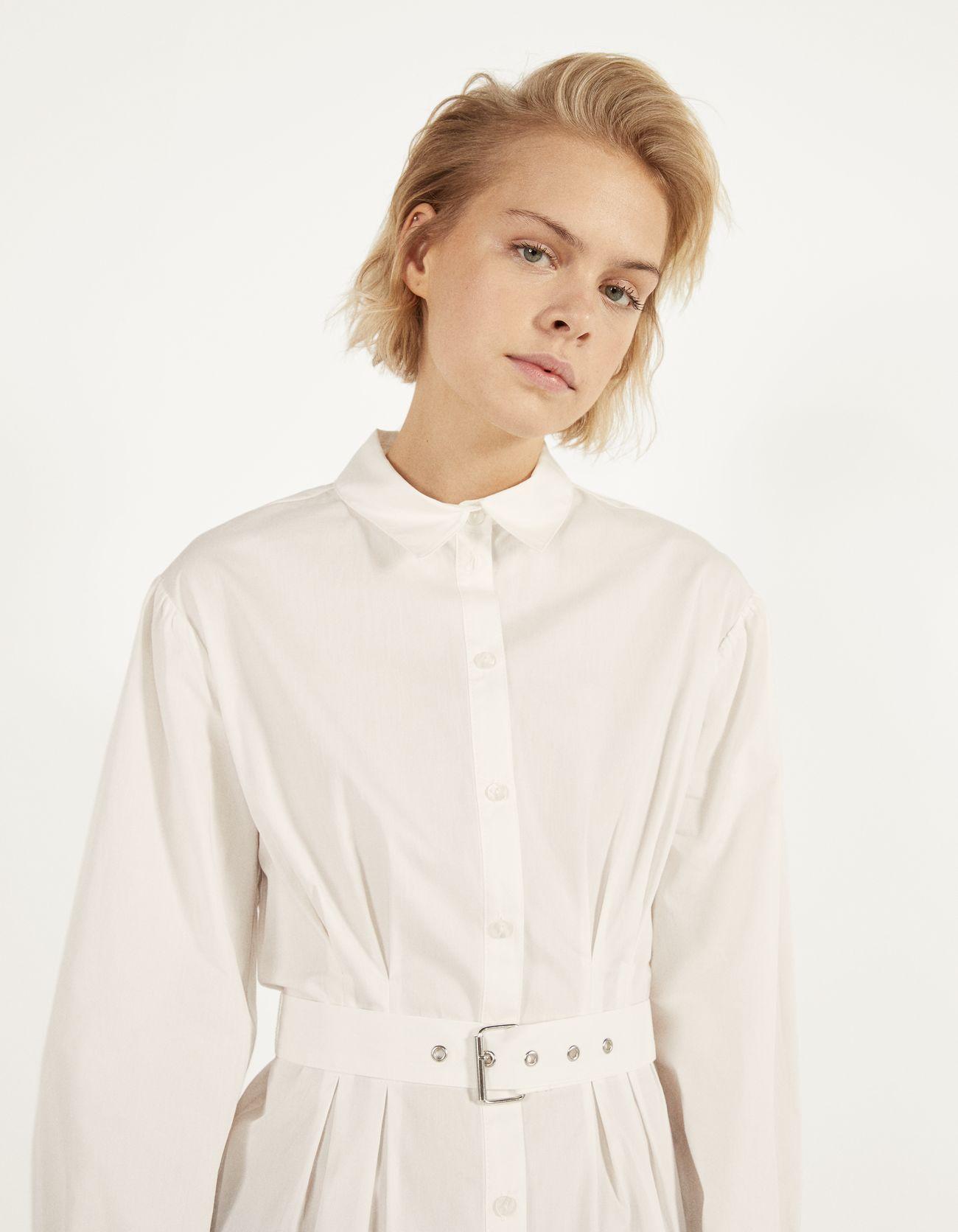 Рубашка из поплина с ремнем БЕЛЫЙ Bershka