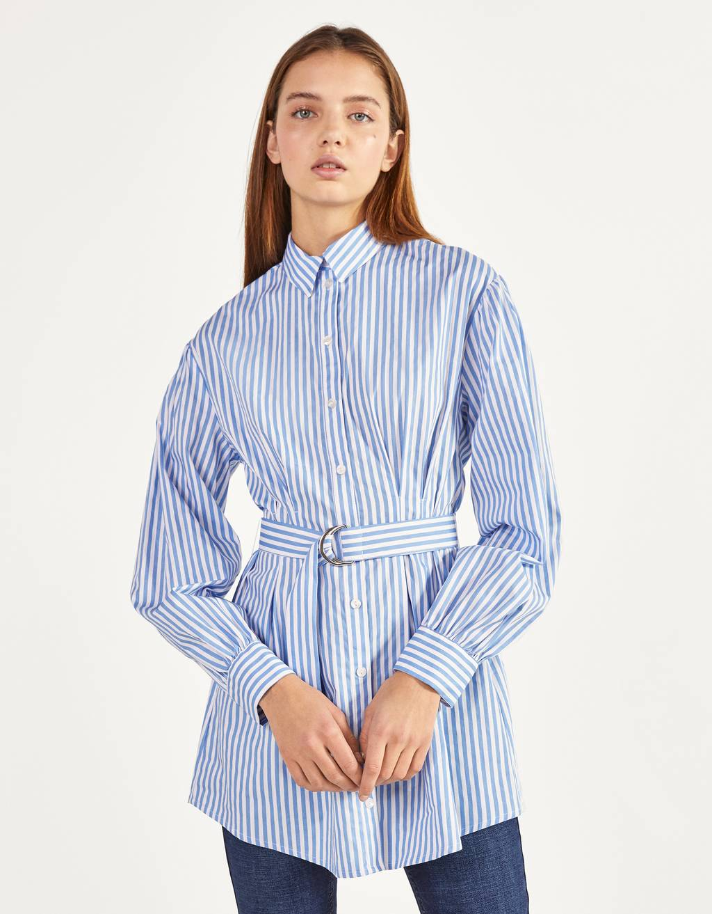 Poplin shirt with belt
