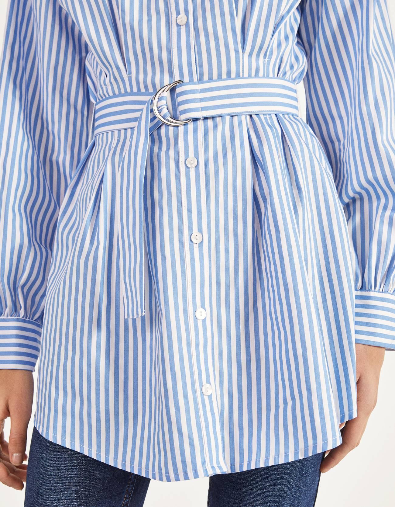 Рубашка из поплина с ремнем Синий Bershka
