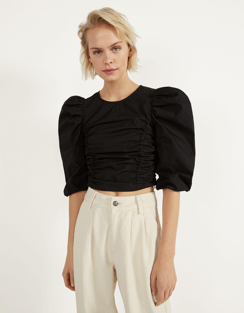 Blusa de popelín con fruncido