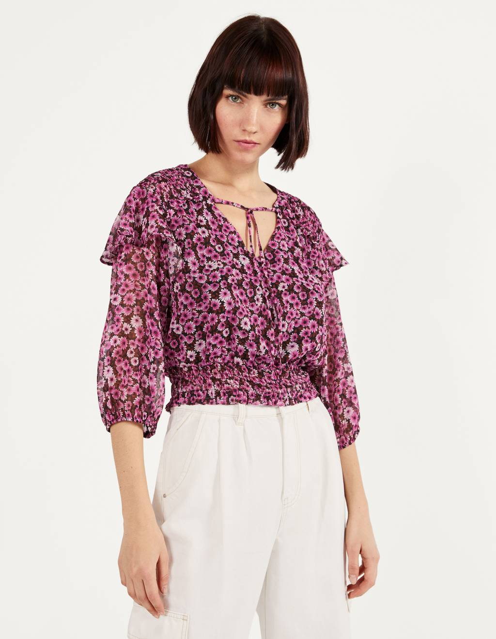 Floral print ruffled blouse