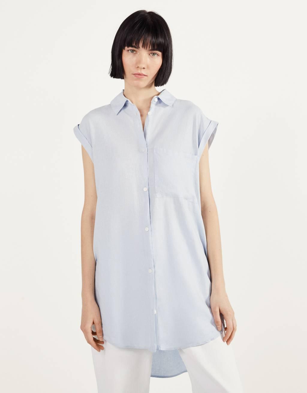 フロントノット付きシャツ