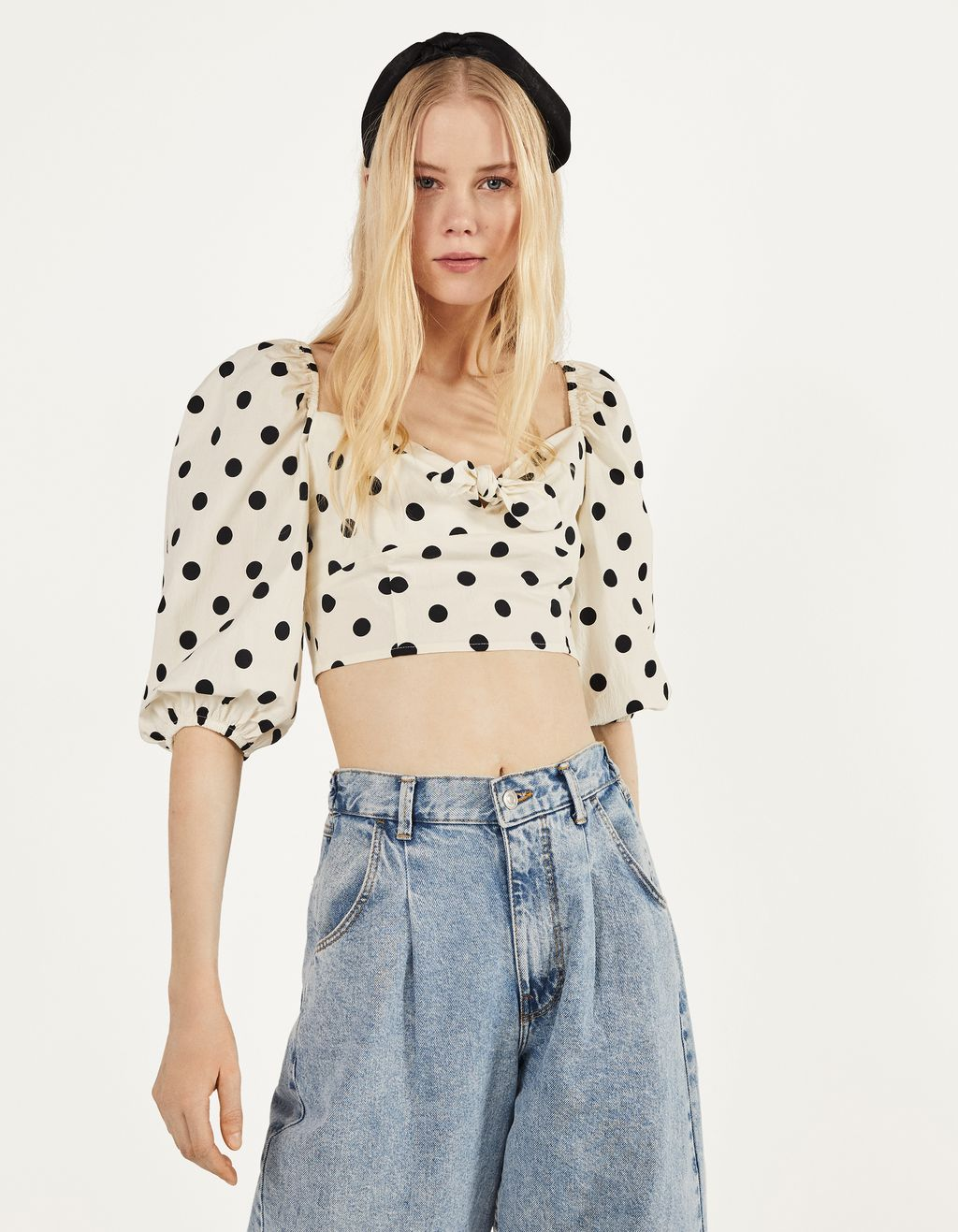 Polka dot blouse with bow detail