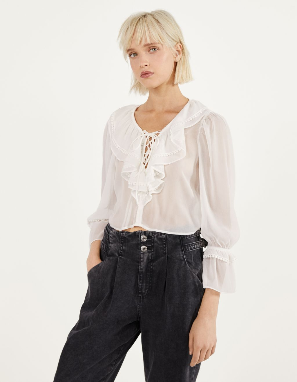 Lace trim blouse with ruffles