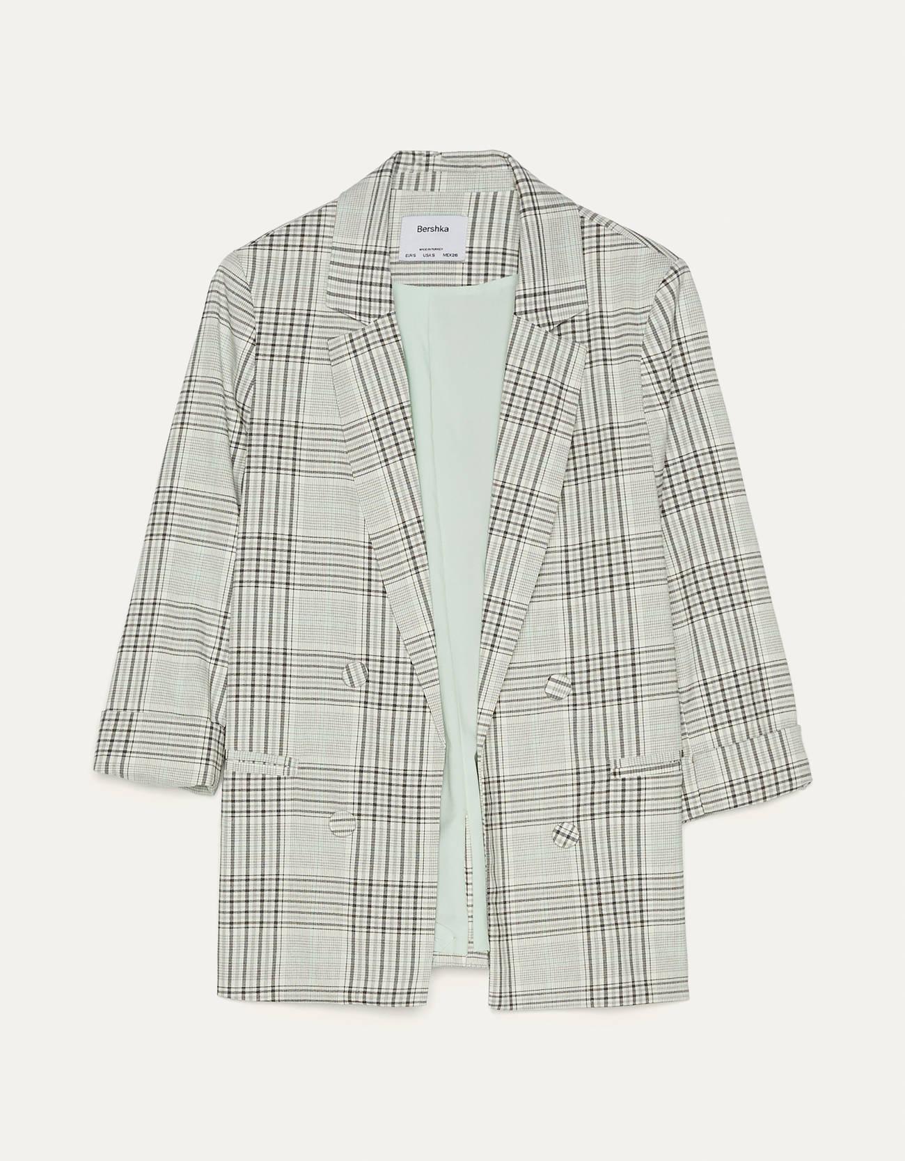 Пиджак с подворачиваемыми рукавами Серый Bershka