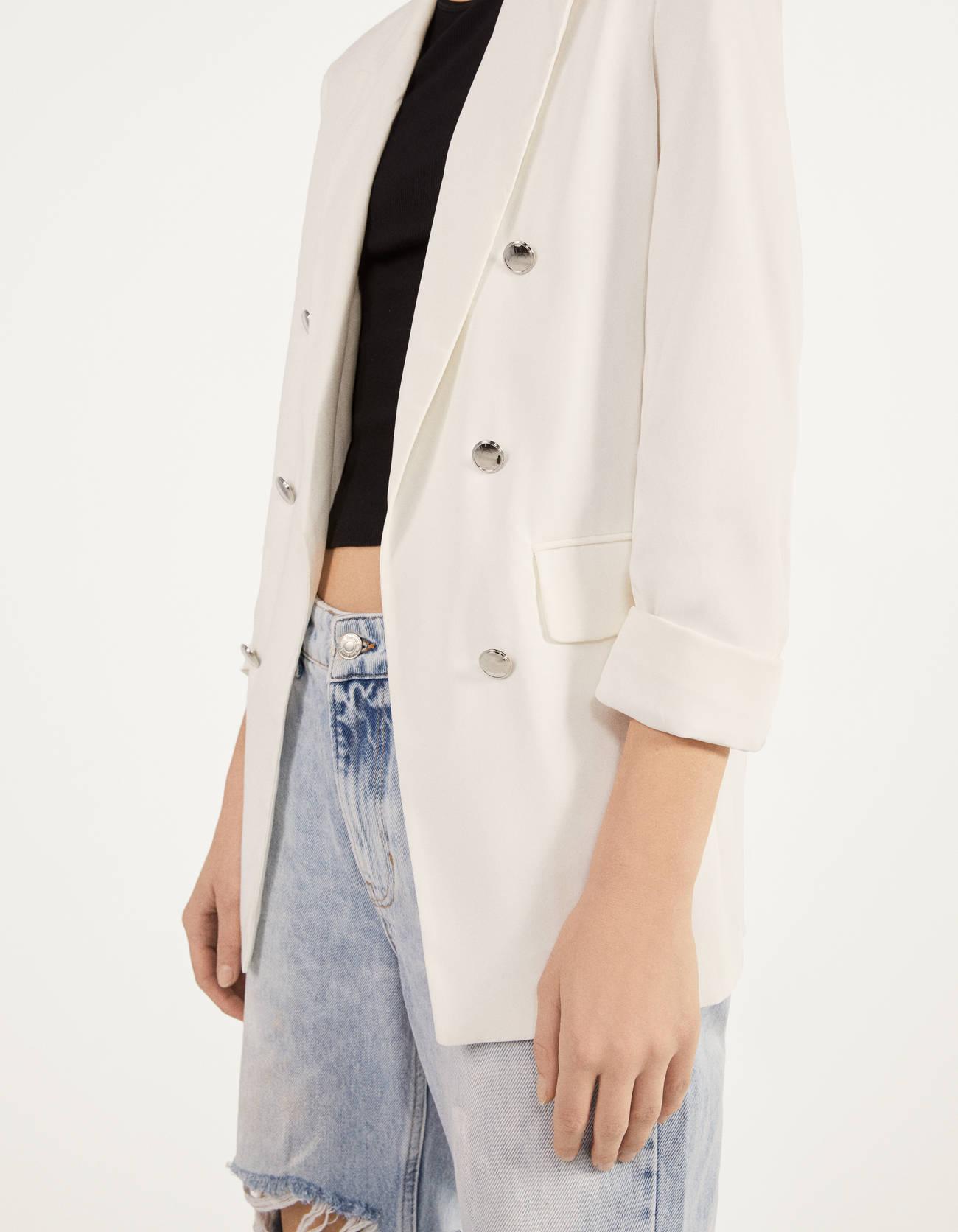 Пиджак с подворачиваемыми рукавами Белый Bershka