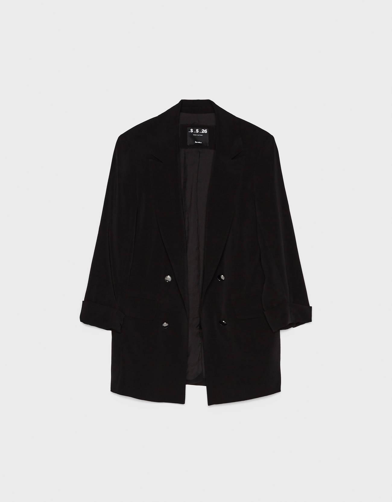 Пиджак с подворачиваемыми рукавами ЧЕРНЫЙ Bershka