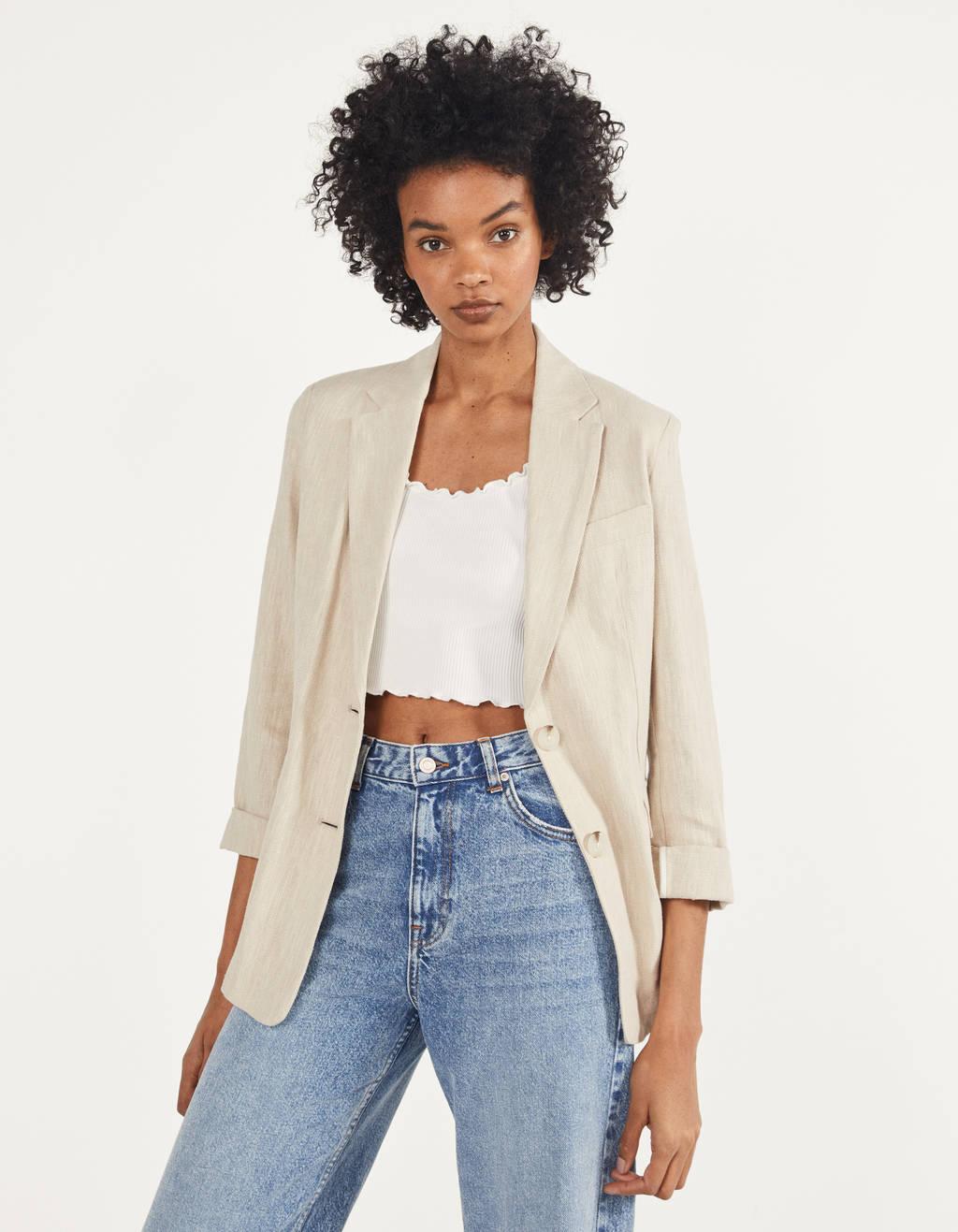 Linen-effect blazer
