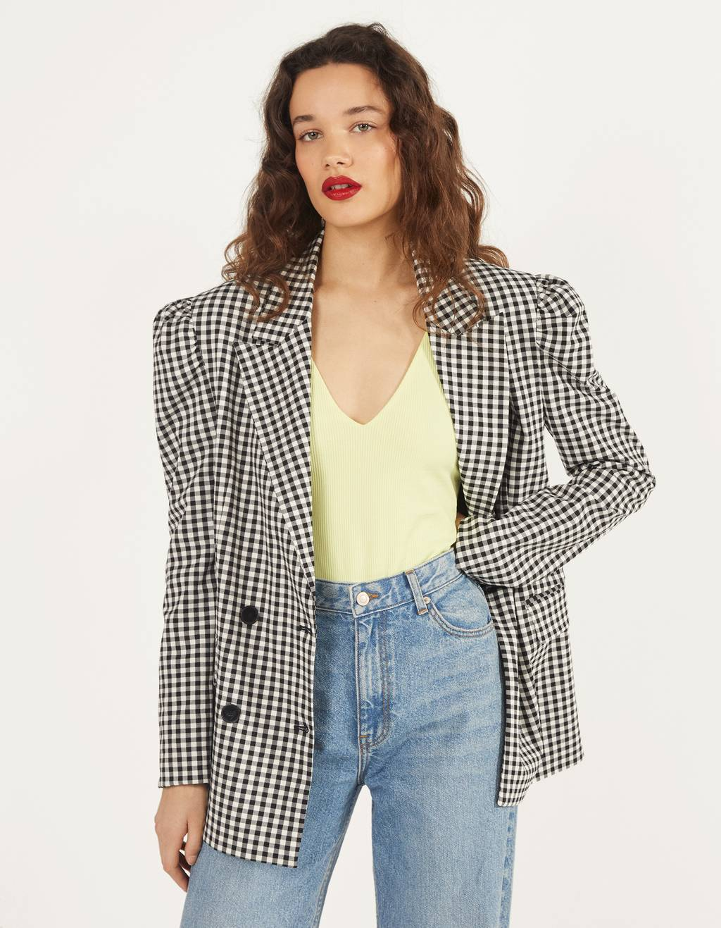 Puffed blazer with gingham print