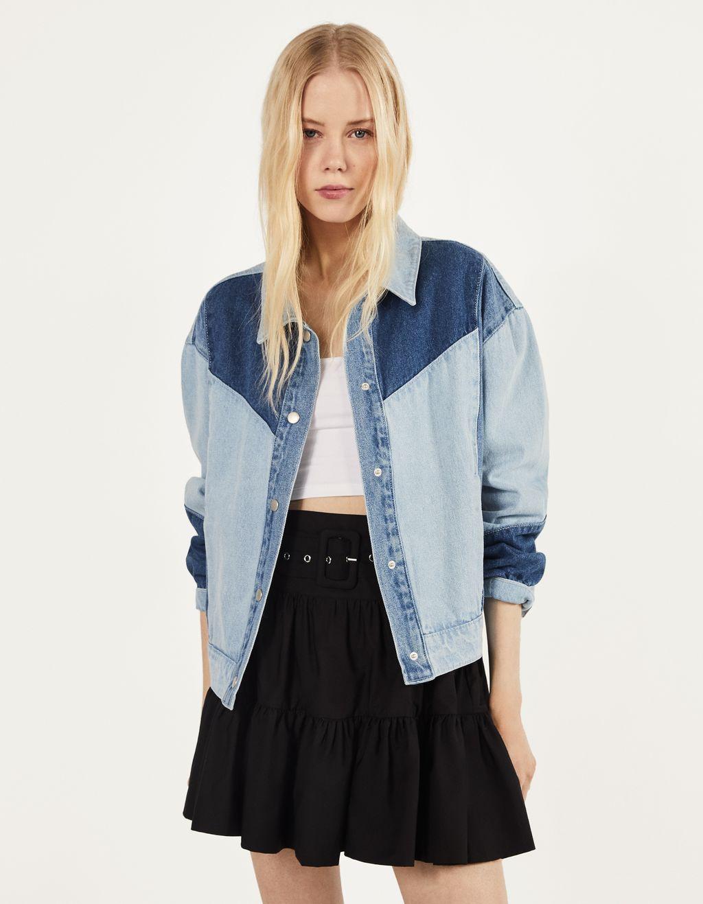 Kurtka jeansowa z kontrastowymi elementami